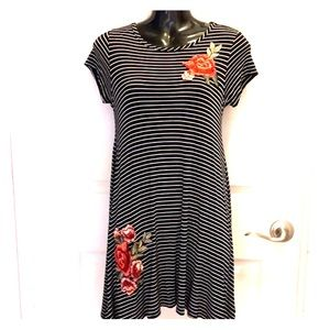 Striped Embroidered Rose T-Shirt Dress